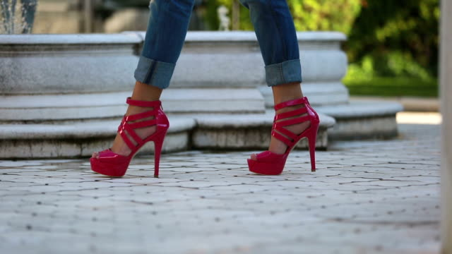 Pink female shoes video