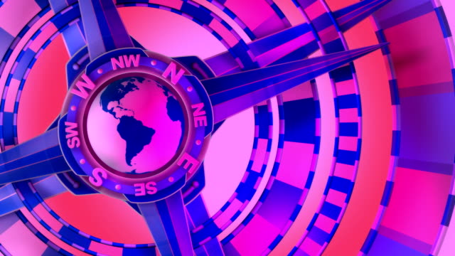 Pink, Loopable, Global Compass Rose with World and Cardinal Points video