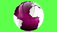 Pink planet earth globe on green matte video
