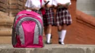 Pink School Backpack And Girls Wearing Skirts video