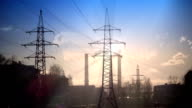 Pipe with smoke and line of electricity transmission video