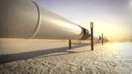 Pipeline in desert, 3D animation, sunset. video