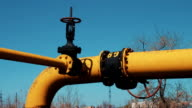 Pipeline with valve. Gas and oil refining industry. A processing and storage station for natural gas and crude oil video
