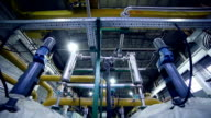 Pipes in a industrial factory. Chenical, gas, oil, water, bio gas tubes video