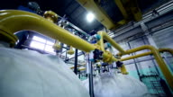 Pipes in a industrial factory. Chenical, gas, oil, waterbio gas pipes video