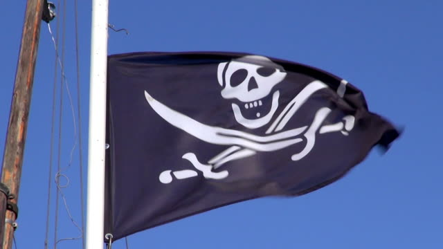 Pirate flag waving in the wind video