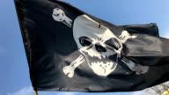 Pirate flag waving in wind against blue sky video