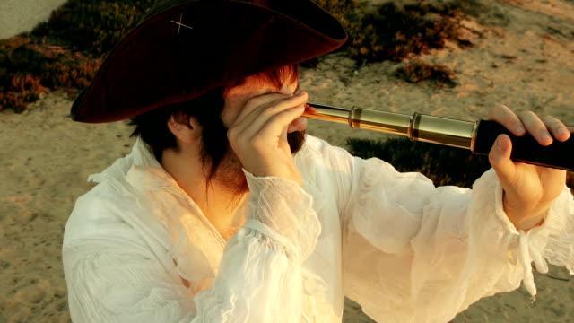 Pirate Holding Spyglass (HD) video