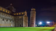 pisa city famous night illumination tower and cathedral front panorama 4k time lapse italy video