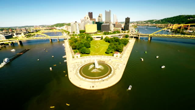 Pittsburgh downtown aerial view video