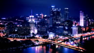 Pittsburgh Skyline Time Lapse Night video