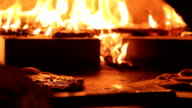 Pizza in a wood fire oven video