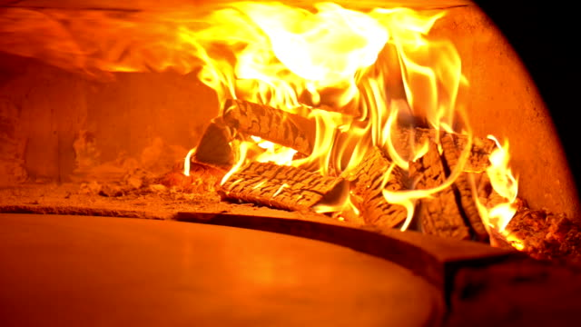 Pizza oven with wood fire video