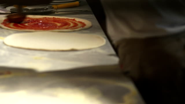 Pizzaiolos Preparing Pizzas Close-up video