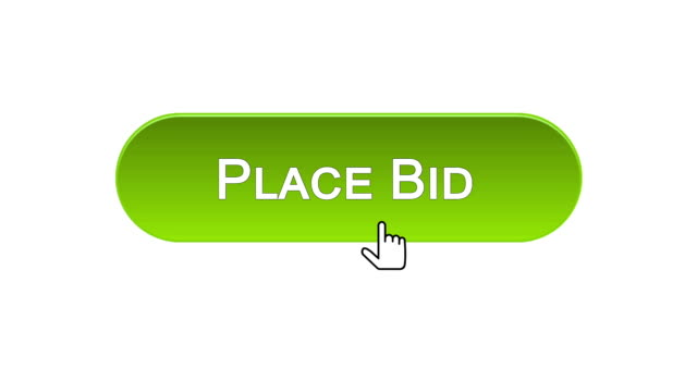 Place bid web interface button clicked with mouse cursor, different colors video
