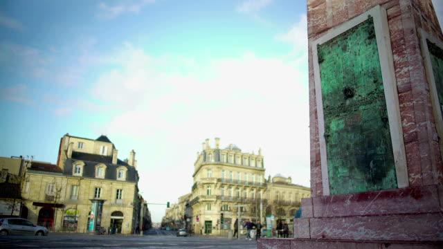 Place de la Victorie in Bordeaux, France, beautiful architecture at city square video