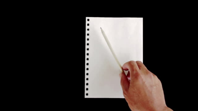 Place the pencil on blank paper video