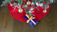 placing gift boxes under christmas tree video