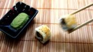 Placing Salmon Avocado Sushi video