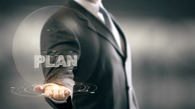 Plan with bulb hologram businessman concept video