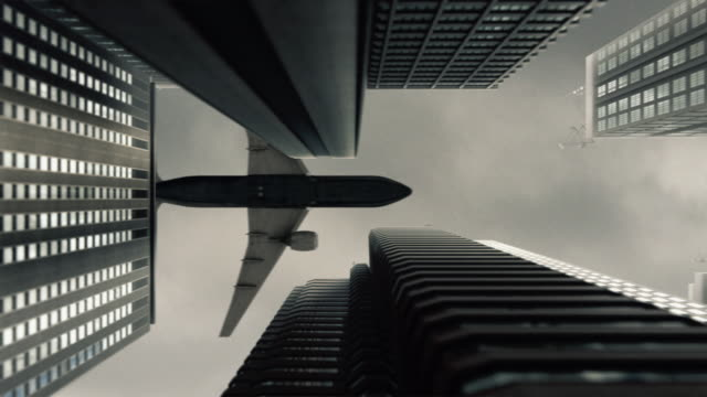 Plane flying over the city video