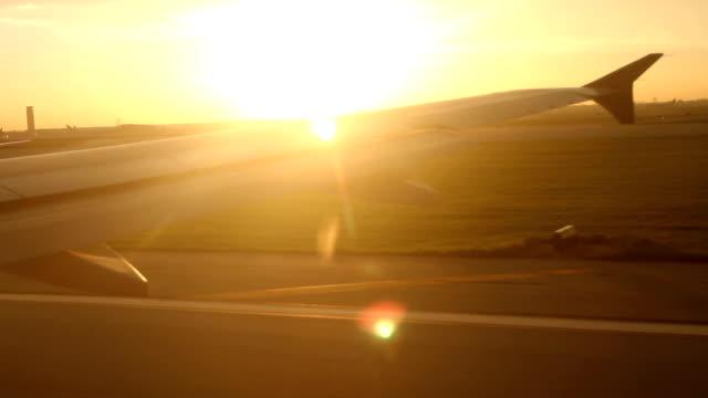 Plane Takeoff at Sunset video