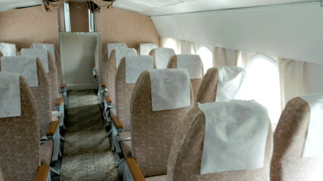 Plane with clean and comfortable seats in beige video