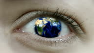 Planet Earth In Close Up Human Eye video
