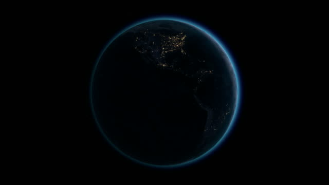 Planet Earth rotates, zoom to North America, 4K Ultra HD. video