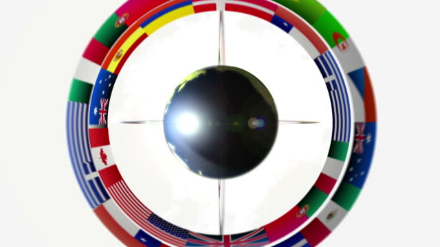 Planet eath with orbital flags white video