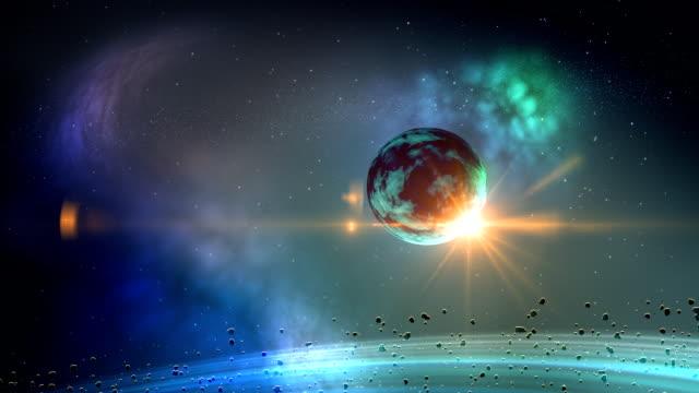Planet in space loop video