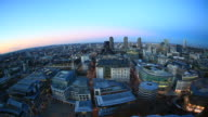 Planet London. Fish eye view of the city HD video video