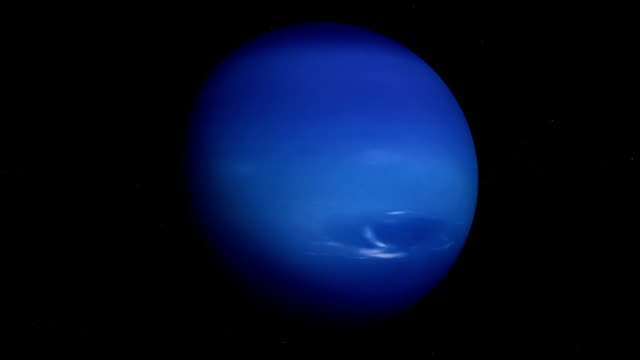 Planet Neptune orbiting, looped, solar system, 3D animation, alpha video