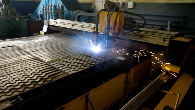 Plasma cutting machine in operation. video