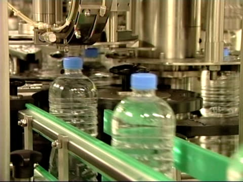Plastic Bottles in Factory on Conveyor Belt Production video
