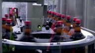 Plastic bottles on conveyer belt in factory video