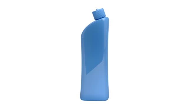 Plastic detergent bottle  Footage - Plastic detergent bottle rotates on white background video