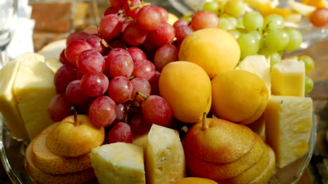 plate of assorted fruits video