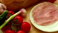 Plate of pork sliced ham video