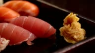 Plate of sushi with gari ginger video
