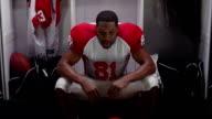 Player takes a break in locker room video