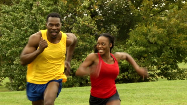 Playful Athletic Couple Run Together video