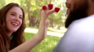 Playful girl feeding her boyfriend raspberries at a picnic video