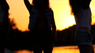 SLOW MOTION: Playful women playing with sea water at sunset video