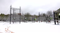 Playground covered with snow video
