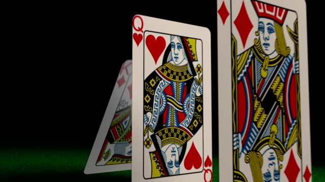 Playing cards falling concept video