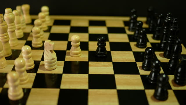Playing chess with yellow tone video