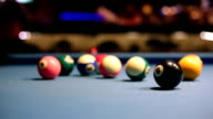 Playing Eight-ball pool billiards in a bar video