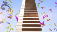 Playing Piano With Flying Colourful Musical Notes video