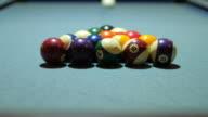 Playing Pool game , Start Shot of pool game on Pool Table and Balls Making , 4k(UHD) video